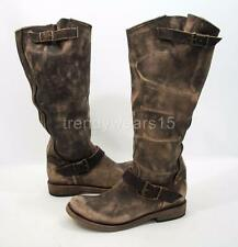 RARE! BNWB! FREEBIRD BY STEVEN CONTRA BLACK DISTRESSED LEATHER SLOUCH BOOTS 10