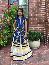 "32"" Age 9 To 10 Size Lehenga Choli Indian Bollywood Kids Dress Girls Skirt Blue"