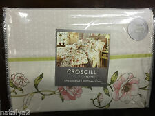 Croscill CAROLINA King SHEETS Set 4PC 1st Coral Green White Dot 300 TC Cotton