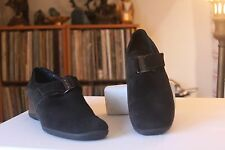 Aquatalia by Marvin K Black Suede Low Wedge Booties Size 8 1/2 Made In Romania