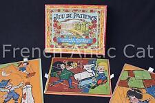 Ancien coffret Jeu de patience Chromos découpés sur bois 3 puzzle NK ATLAS Paris