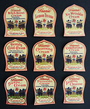 """9 Different Dr. J. B. Lynas """"Diana"""" Cosmetic Jar Labels Logansport, Indiana"""