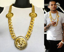 "NEW MENS 3 MEDALLION MEDUSA GOLD GREEK CUBAN LINK CHAIN PENDANT 33""NECKLACE"