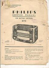 Service manual from 1938 Philips battery receiver 819B 14 pages original