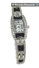 ladies vintage look black onyx inlay silver designer-style fashion watch