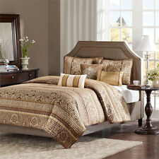 BEAUTIFUL BEIGE GOLD FLORAL TAUPE BROWN IVORY WHITE QUILT SET QUEEN & KING SZS