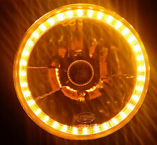 "Amber 7"" Round LED Halo Ring H4 Headlights Indicator Angel Eye Ring Universal"