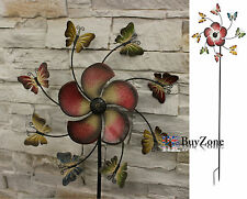 Metal Garden Windmill Butterfly Flower Mobile Ornament Decoration Wind Spinner