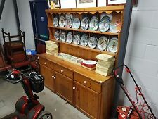 Large Pine Dresser Display Cabinet Sideboard With Cupboards, Shelves & Drawers