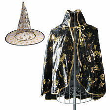 Halloween Wizard Witch Costume Cloak Cape + Hat Set Kids Dress Up 3-10 Years