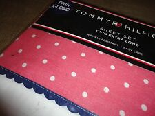 TOMMY HILFIGER EMORY PINK POLKA DOT RIC RACK (3PC)EXTRA LONG TWIN SHEET SET