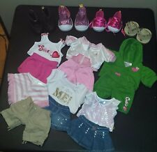 Lot of 16 clothes & shoes Build a Bear BABW pieces skirts boots hoodie sandals
