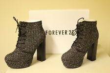 New FOREVER 21 Black Weave Style Lace Up Block Heel Ankle Boots Shoes Boxed UK 5