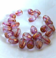 20 pcs Czech Glass Fire Polished Beads purple with bronze luster, drop 13 x10mm