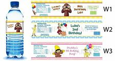 Curious George ~ Printed Water Bottle Labels ~ Birthday Party Favors Supplies