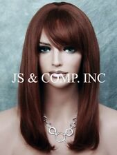 100% HUMAN HAIR Dark Auburn WIG BANGS fringe Crimped RoughTexture MOLAC 33
