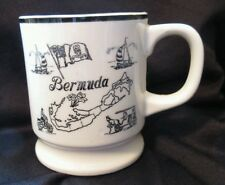 VINTAGE BERMUDA MAP MUG JAPAN shaving Cup MUSTACHE GUARD Union Jack flag coffee