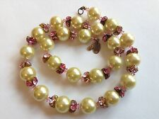 VINTAGE MIRIAM HASKELL SIGNED PINK RHINESTONE & PEARL NECKLACE