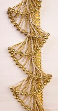 "5 Yards Gold / Cream Beaded Rope FRINGE Trim  4"" Drop  DRAPERY / UPHOLSTERY"