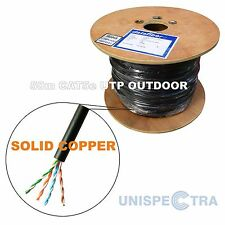 50m CAT5e OUTDOOR Network Cable External, Underground BLACK - SOLID COPPER