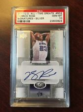 DERRICK ROSE ALL-TIME GREATS SIGNATURES SILVER AUTO PSA 10 NUMBER 1 / 3 Prestine