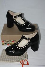 Orla Kiely at Clarks ~ DOTTY ~ block heel shoes BNWT black UK 7.5