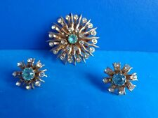 VINTAGE RETRO JEWELED PIN AND SCREW BACK EARRINGS