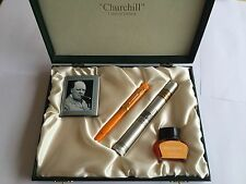 Conway Stewart Winston CHURCHILL fountain pen ORANGE celluloid - FULL SET -RARE!