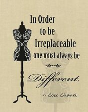 Women's Beauty Fashion Art Print 'BE IRREPLACEABLE, BE DIFFERENT ~ Coco Chanel