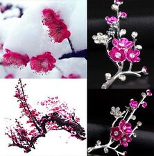 Silver Rhinestone Crystal Plum Blossom Flower Wedding Bridal Bouquet Brooch Pin