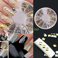 1200Pcs 3D Metal Nail Art Tips Metallic Studs Stickers Gems Decoration Manicure