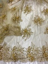 "GOLD MESH W/EMBROIDERY PEARL BEADS & SEQUINS BRIDAL LACE FABRIC 52"" WIDE 1 YARD"