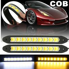 2x Flexible COB LED DRL Daytime Running Fog Driving Lights Yellow Turn Signals