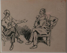 Antique Indiana Art Hoosier Poet Original Illustration WILL VAWTER 2 Men FRIENDS