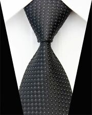 PRICED 2 GO! Mens Skinny Retro Tiled Dots Silk Dot Work Necktie Tie Black White