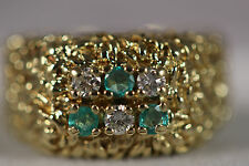 HEAVY 11.63G WIDE 18K SOLID GOLD NUGGET EMERALD DIAMOND BYZANTINE RING 18KT 5.5