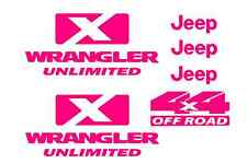 Hot Pink Jeep decal wrangler unlimited 4x4 sticker offroad includes 6 stickers