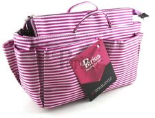 Periea handbag organiser, tidy, organizer,insert White And Pink Stripes-Chrissy