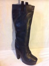 Carvela Black Knee High Leather Boots Size 38