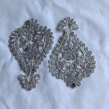 Sew On Diamante Beaded Indian Lace Trim Neckline Motif Wedding Applique Patch
