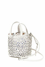 ALAIA Vienne Grey Laser Cut Double Handle Scalloped Leather Bucket Bag Purse