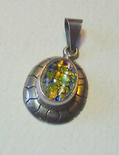 VINTAGE MEXICAN SILVER DRAGONS BREATH FOIL OPAL PENDANT