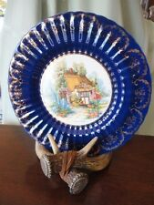 "Plate Somerset Cottage Cobalt Royal Victoria Wade England Pottery 10-3/4""w"