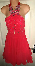 NEW LOOK LADIES PINK DIAMANTE PARTY EVENING PROM DRESS SIZE 16 BNWOT
