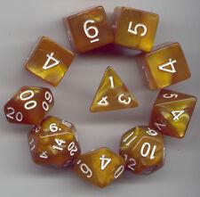 RPG Dice 10pc - Pearl Peru- 1 @ D4 D8 D10 D12 D20 D00-10 & 4 D6