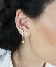 Rose Gold Elegant Crystal 2 In 1 Leaf And Vine Ear Cuff Earrings Rhodium Plated