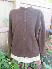 Eileen Fisher  Knit Cardigan Women's 90% Wool Sweater Brown  Button Up Size PM