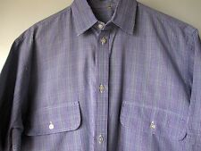 Turnbull Asser Shirt Small Blue Plaid Short Sleeve Button Down Mens Made England