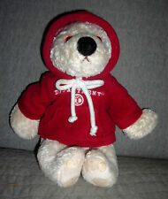 DEPARTMENT 56  VINTAGE  plush CREAM BEAR, BELLA  with BURGANDY HOODIE   9 INCH
