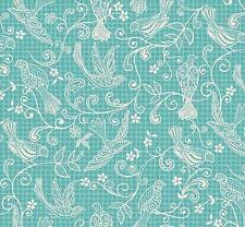 """BTY """"Bohemia"""" Toile Lace in Turquoise Makower UK 100% Cotton Quilt Shop Fabric"""
